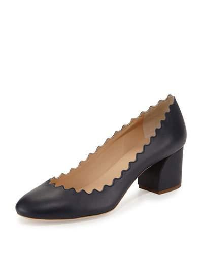 Women'S Lauren Scalloped Leather Block-Heel Pumps, Black