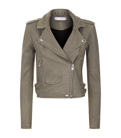 IRO Ashville Washed-Leather Biker Jacket in Stone Grey