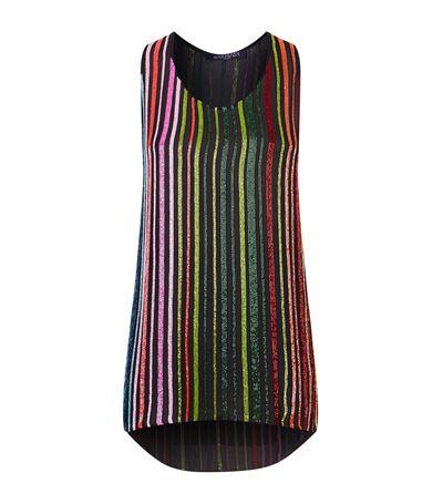 Embellished Stripe Silk Top in Multicolour