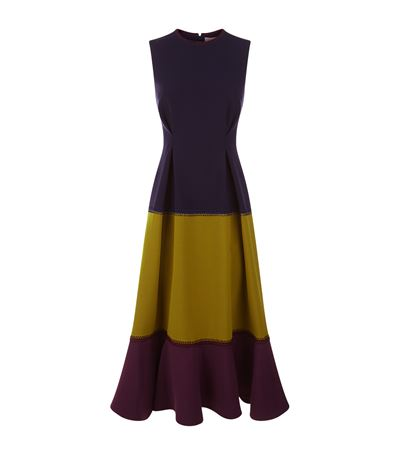 ROKSANDA Ambreen Paneled Stretch-Cady Midi Dress in Colour: Navy