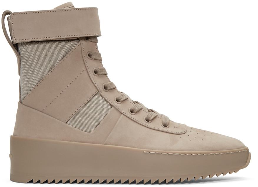 Beige Military High-Top Sneakers, Desert Beige