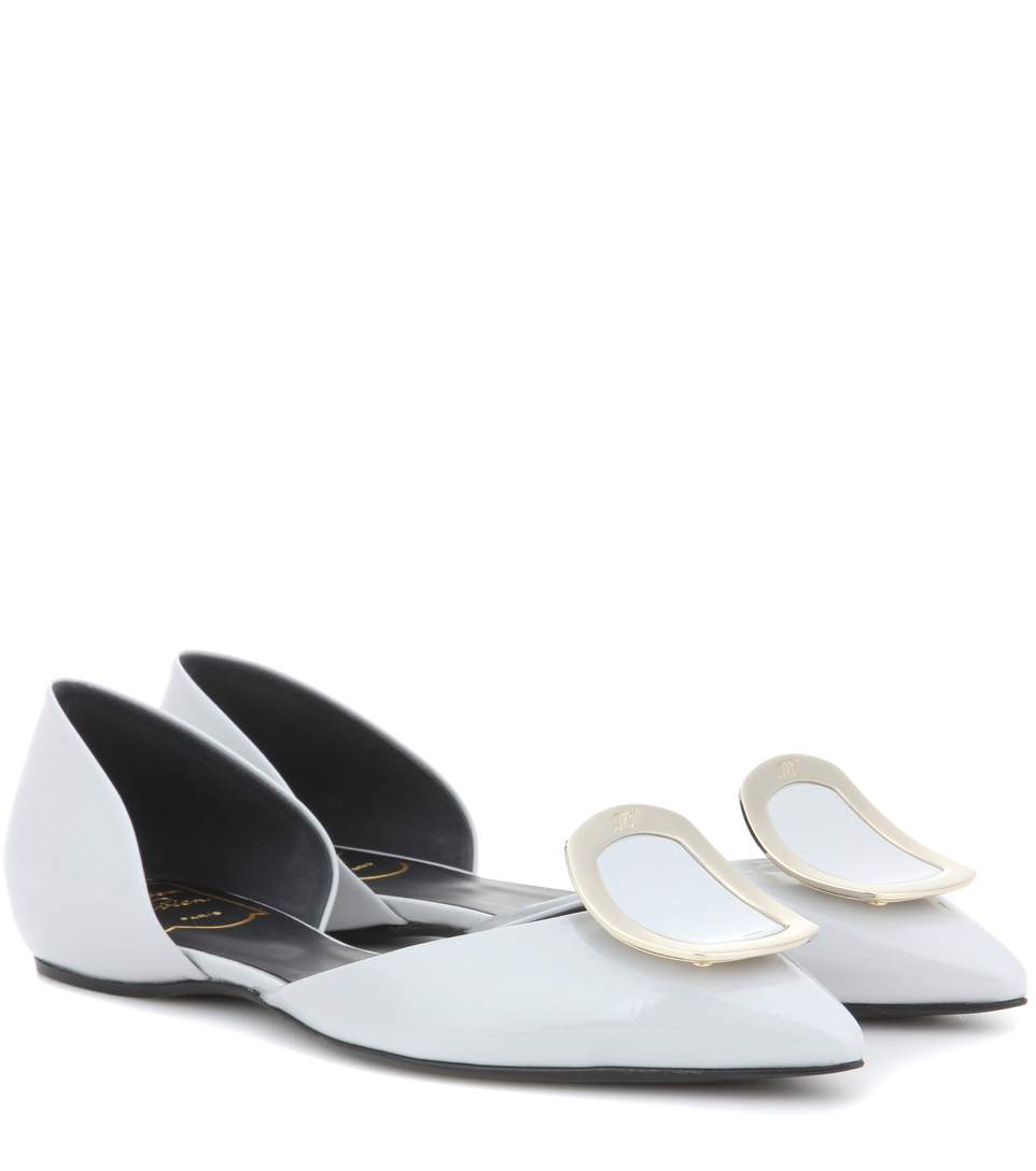 Dorsay Sexy Choc Patent Leather Ballerinas in White