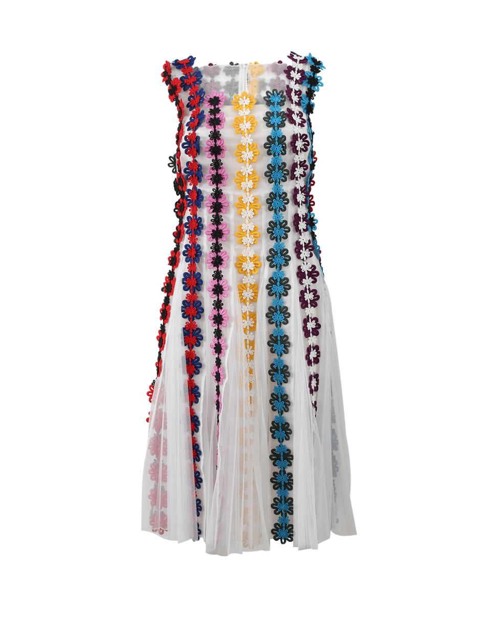 Nash Flower Embroidered Dress in Wht-Mult
