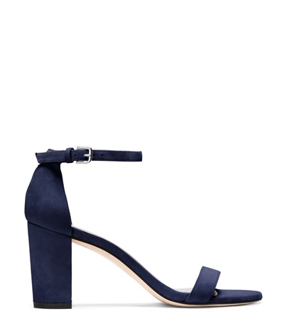 STUART WEITZMAN THE NEARLYNUDE SANDAL, BLUE SUEDE