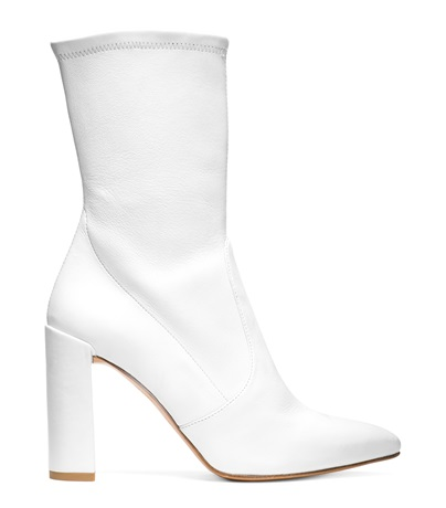STUART WEITZMAN THE CLINGER BOOTIE, SNOW STRETCH LEATHER
