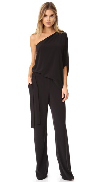 One-Shoulder Draped Wide-Leg Jumpsuit in Black