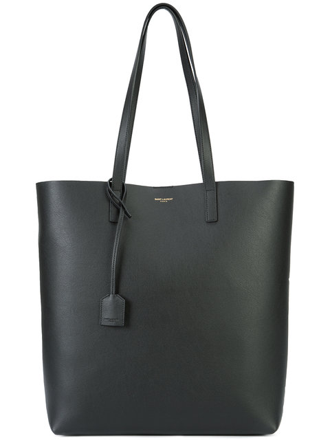 North-South Leather Shopper Tote - Black