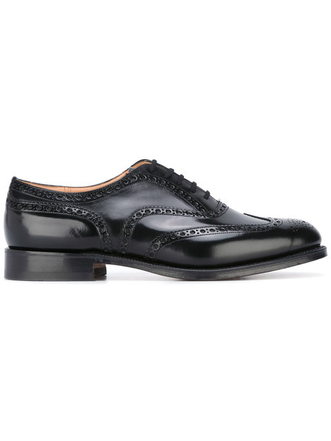 CHURCH'S Brogued Leather Oxfords in Black