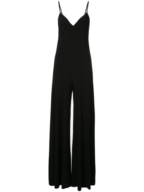 Flared Hem Stretch Jersey Jumpsuit in Black