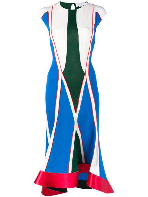 ESTEBAN CORTAZAR Asymmetric Satin-Trimmed Color-Block Stretch-Knit Midi Dress in Blue