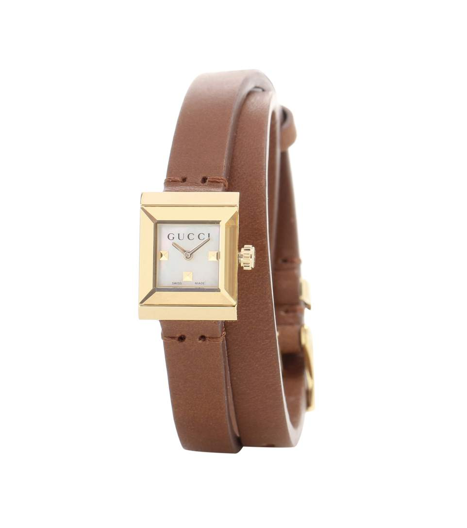 GUCCI G-FRAME LEATHER WRAP STRAP WATCH, 14MM X 18MM, WHITE/BROWN ...