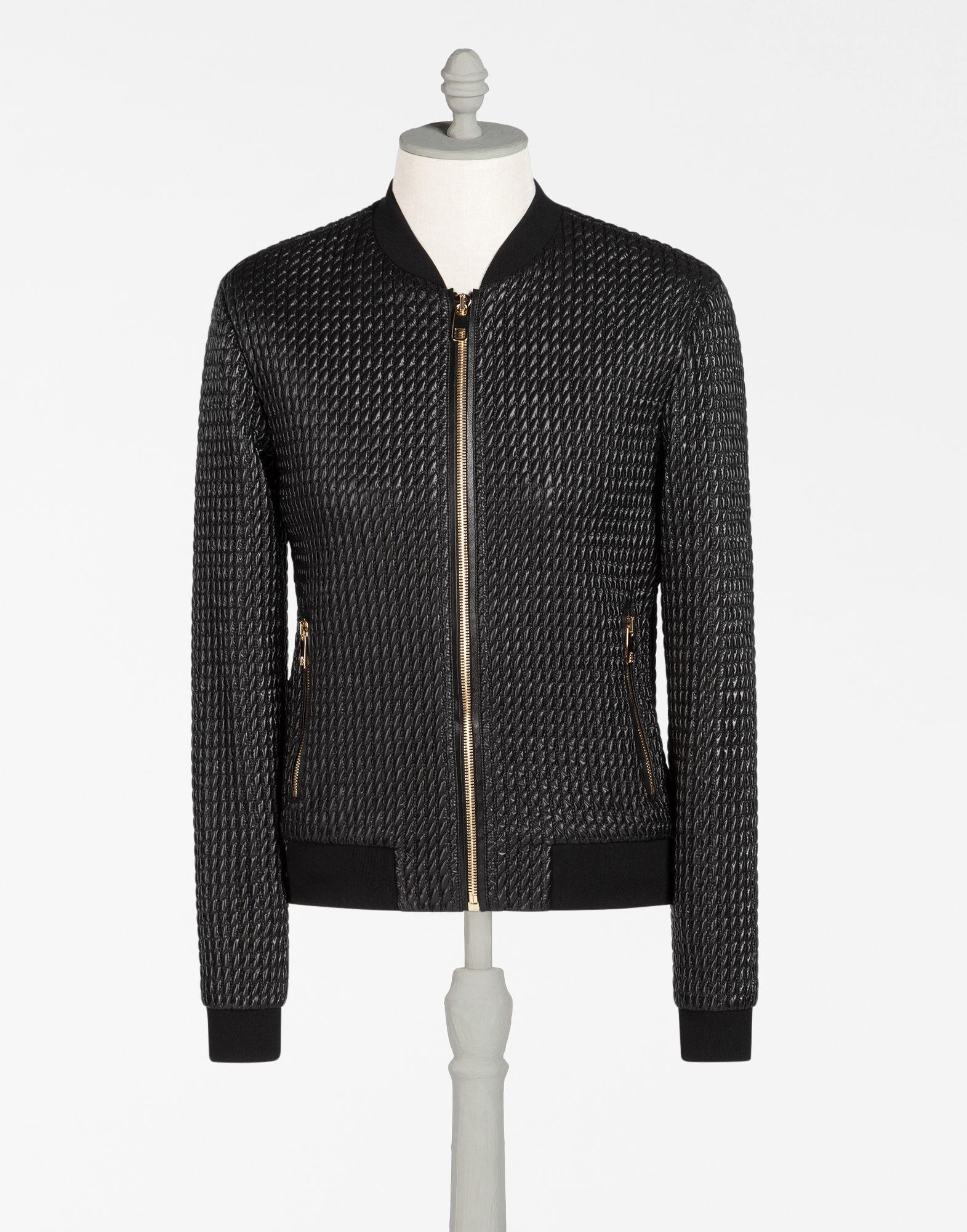 Dolce Gabbana Quilted Nylon Bomber Jacket Black Modesens