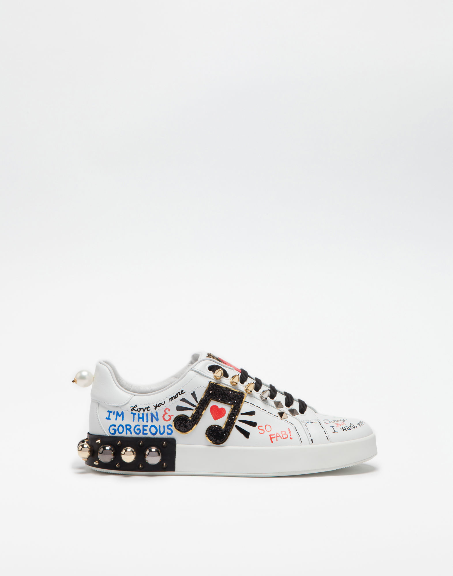 Printed Leather Portofino Sneakers With Appliqué in White