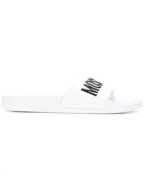 MOSCHINO White Pool Slider Sandals W/Black Signature Logo