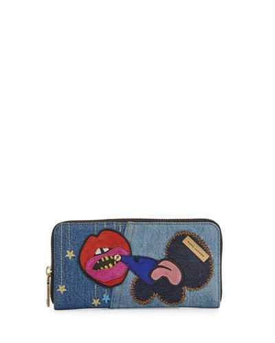 Marc Jacobs Julie Verhoeven Denim Standard Continental Wallet, Blue