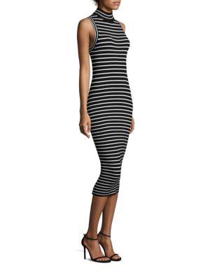 MICHAEL MICHAEL KORS Striped Ribbed Stretch-Knit Turtleneck Dress in Black