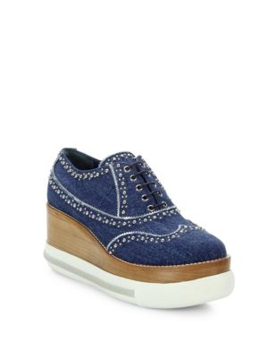 MIU MIU Studded Denim Platform Sneakers, Blue-Silver