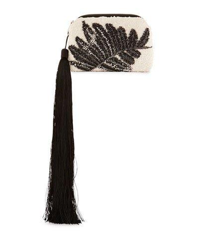THE ROW Embellished Tweed Mini Tassel Wristlet Bag, White/Black
