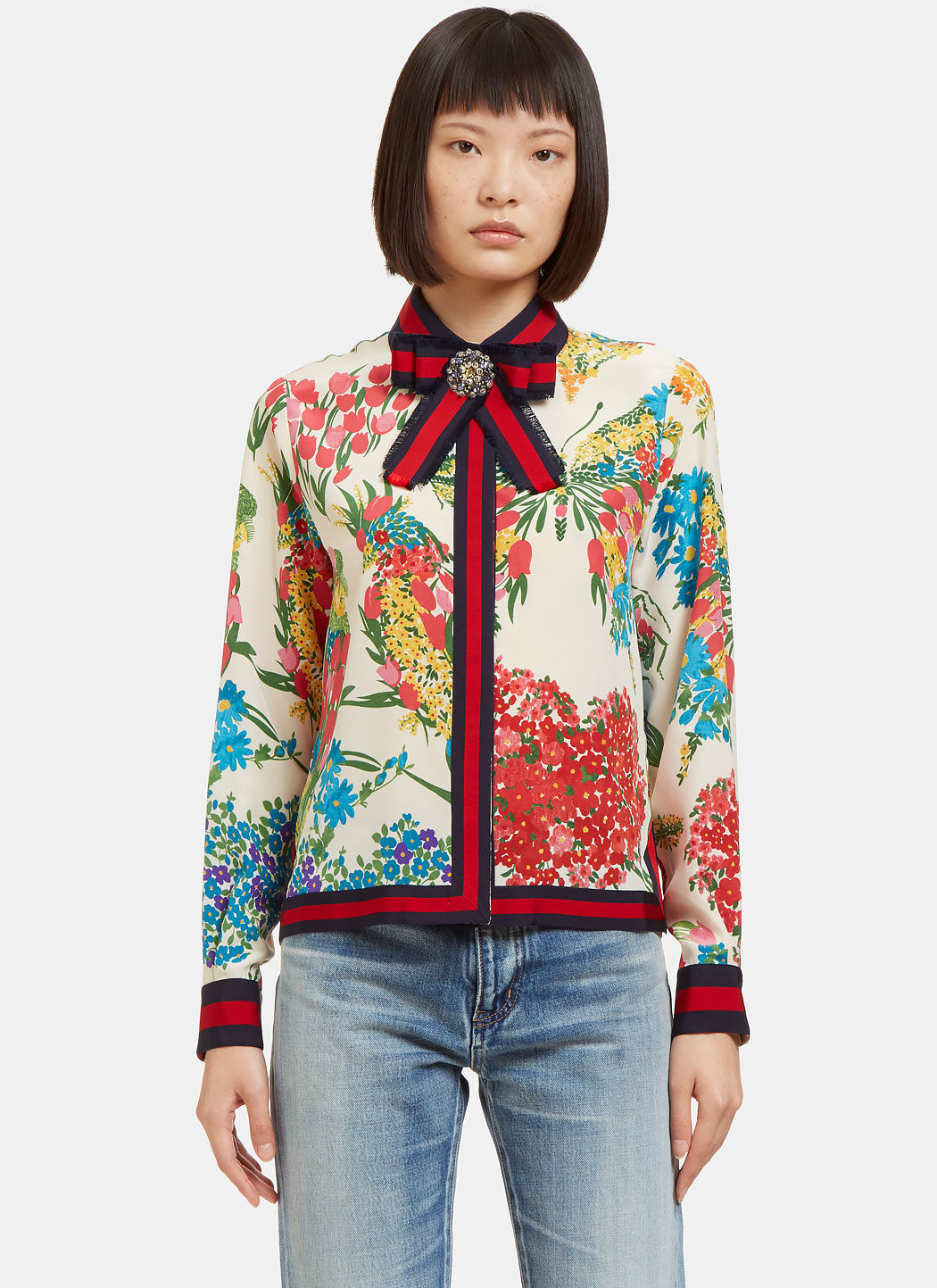 GUCCI Grosgrain-Trimmed Printed Silk Crepe De Chine Blouse in Ivory