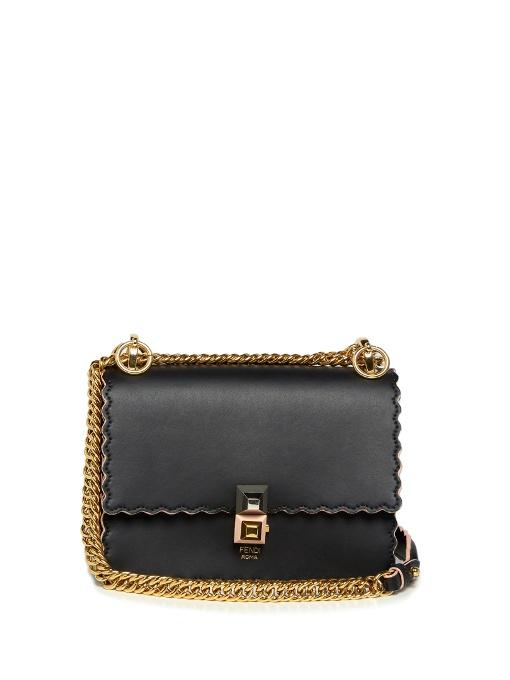 Fendi Kan I Small Leather Scalloped Shoulder Bag gFazsS8