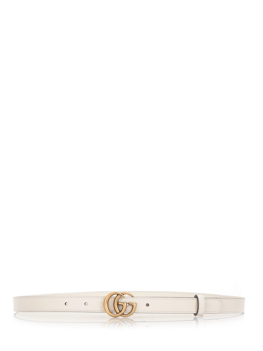 Gg Faux Pearl-Embellished Leather Belt, White Leather