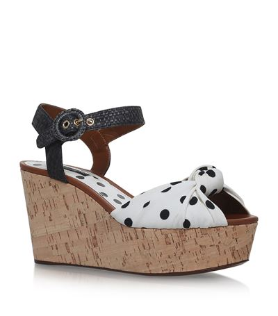 Woman Printed Knotted Cady Platform Sandals White, Polka Dot Print