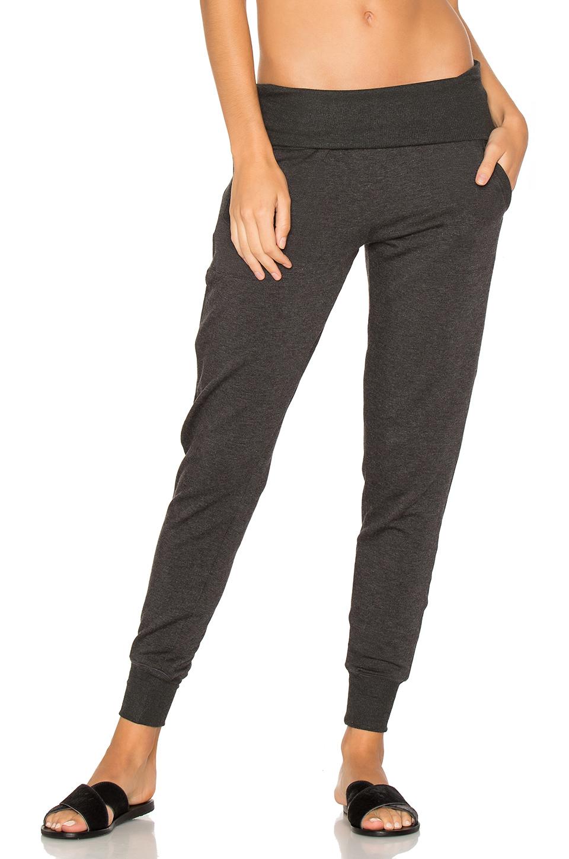 Cozy Fleece Fold-Over Jogger Sweatpants in Gray