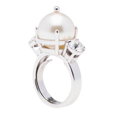 MIU MIU RING WITH PEARL AND CRYSTALS, CREAM+CRISTAL