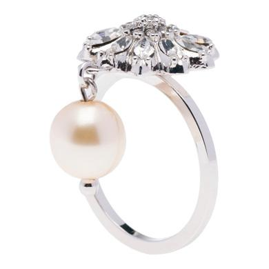 MIU MIU SILVER RING WITH PEARL AND CRYSTALS, CREAM+CRISTAL