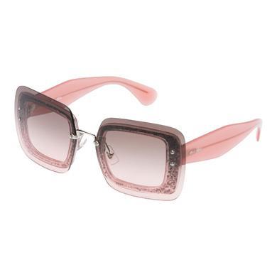 MIU MIU Reveal Eyewear With Glitter, Graphite Gray To Pink Gradient Lenses
