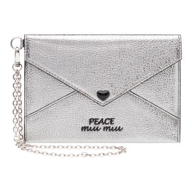 MIU MIU MADRAS LEATHER ENVELOPE WITH FLAP, CHROME+PEACE