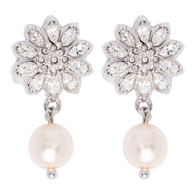 Miu Miu Silver Flower Earrings With Pearl, Cream+Cristal