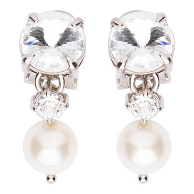 Faux-Pearl And Crystal Clip-On Earrings, Cream+Opal