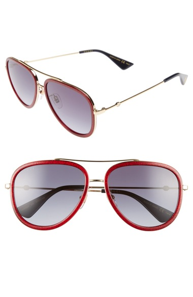 Gucci Women'S Brow Bar Aviator Sunglasses, 57Mm, Glitter Red/ Blue