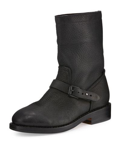 RAG & BONE Oliver Pebbled Leather Boot, Black