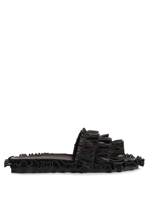 Leather Slip-On Sandals, Black