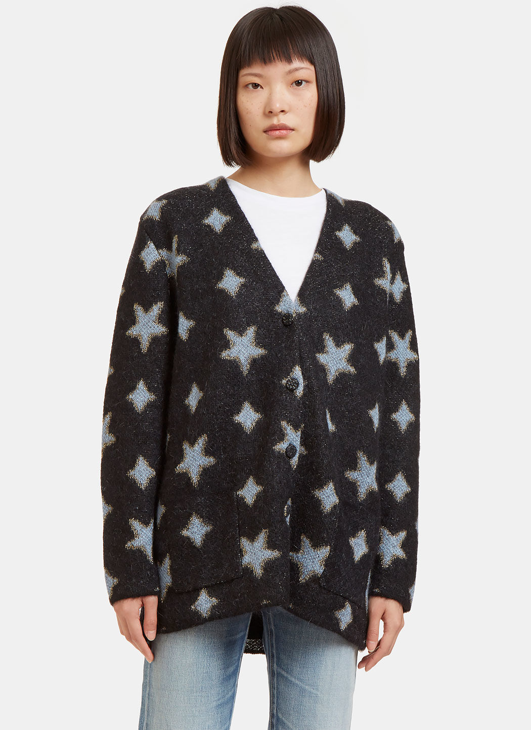 SAINT LAURENT Oversized Cardigan In Black, Sky Blue And Gold Star ...