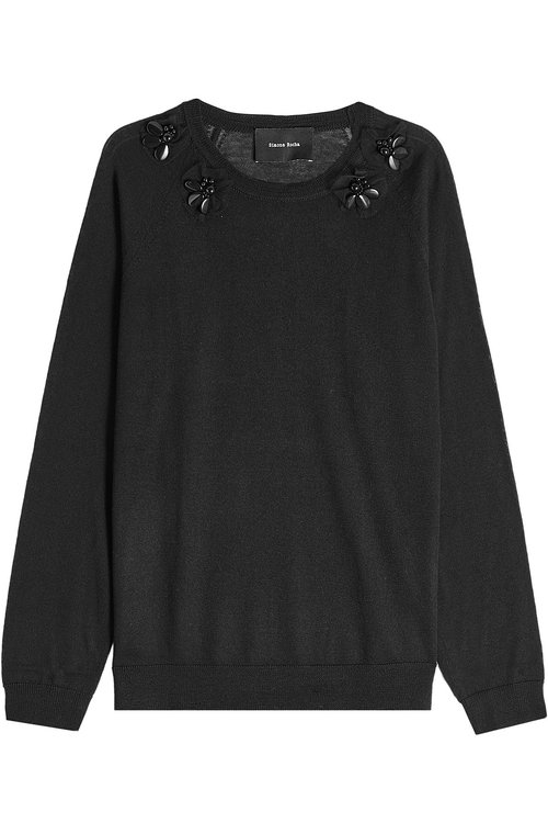 SIMONE ROCHA WOMAN EMBELLISHED WOOL, SILK AND CASHMERE-BLEND SWEATER BLACK