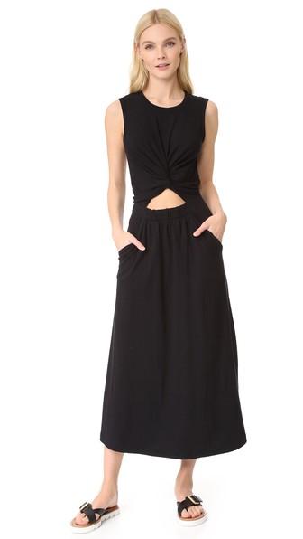 T BY ALEXANDER WANG T By Alexander Twist Front Midi Tank Dress in Black