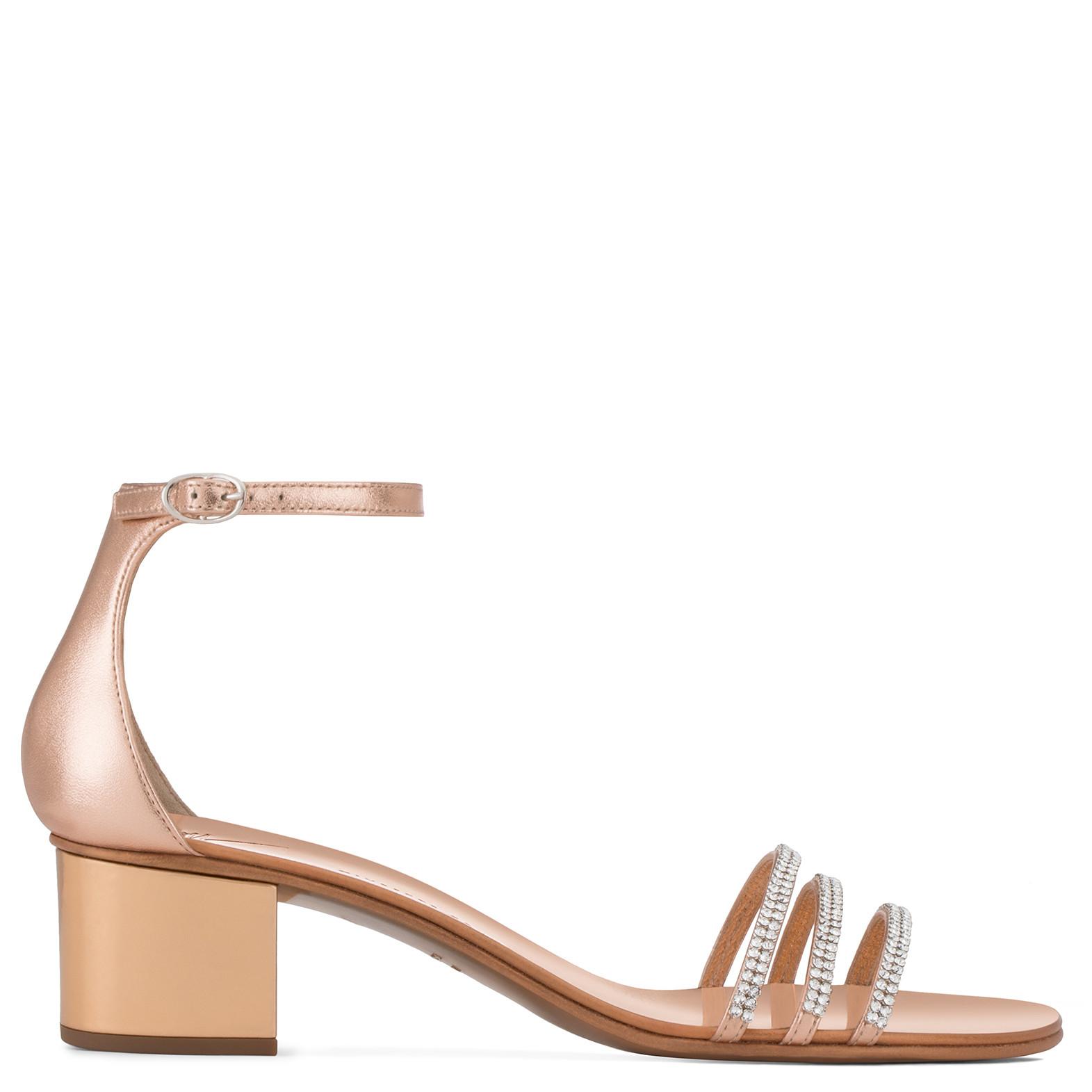 Giuseppe Zanotti 40 mm rose gold laminated leather sandal MARTHA GPsvn3l