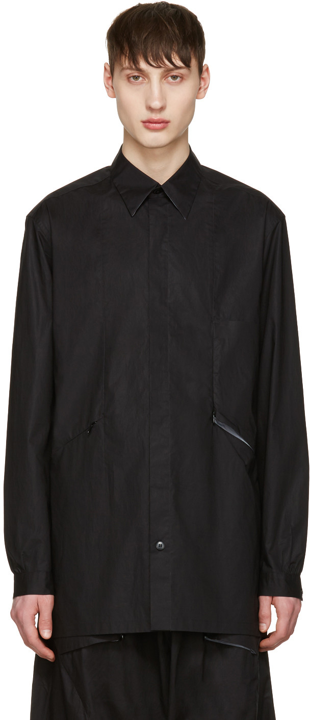 Y-3 BUTTON UP SHIRT JACKET, BLACK