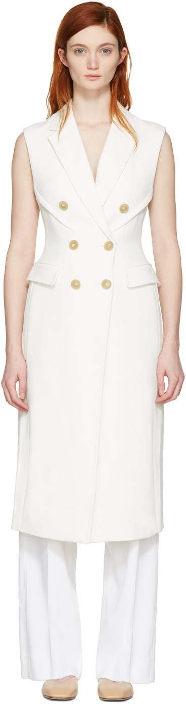 3.1 Phillip Lim Sculpted Waist Double Breasted Sleeveless Coat, White