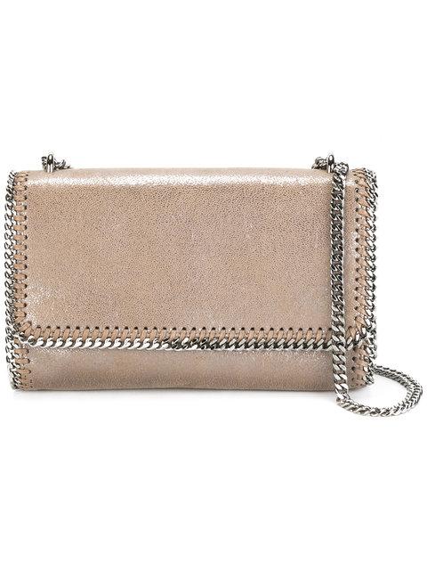Faux Leather Flap Shoulder Bag - Metallic, Nude & Neutrals