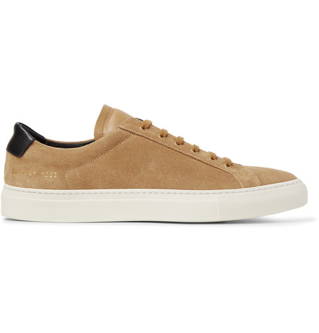 COMMON PROJECTS ACHILLES RETRO LEATHER-TRIMMED SUEDE SNEAKERS, BEIGE/TAN