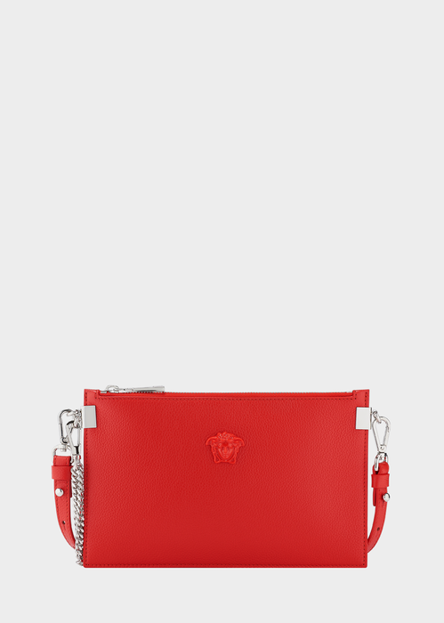 VERSACE PALAZZO LEATHER POUCH BAG, RED