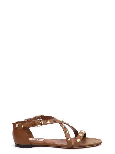 Valentino Garavani 'Rockstud' Flat Sandal, Bright Cuir