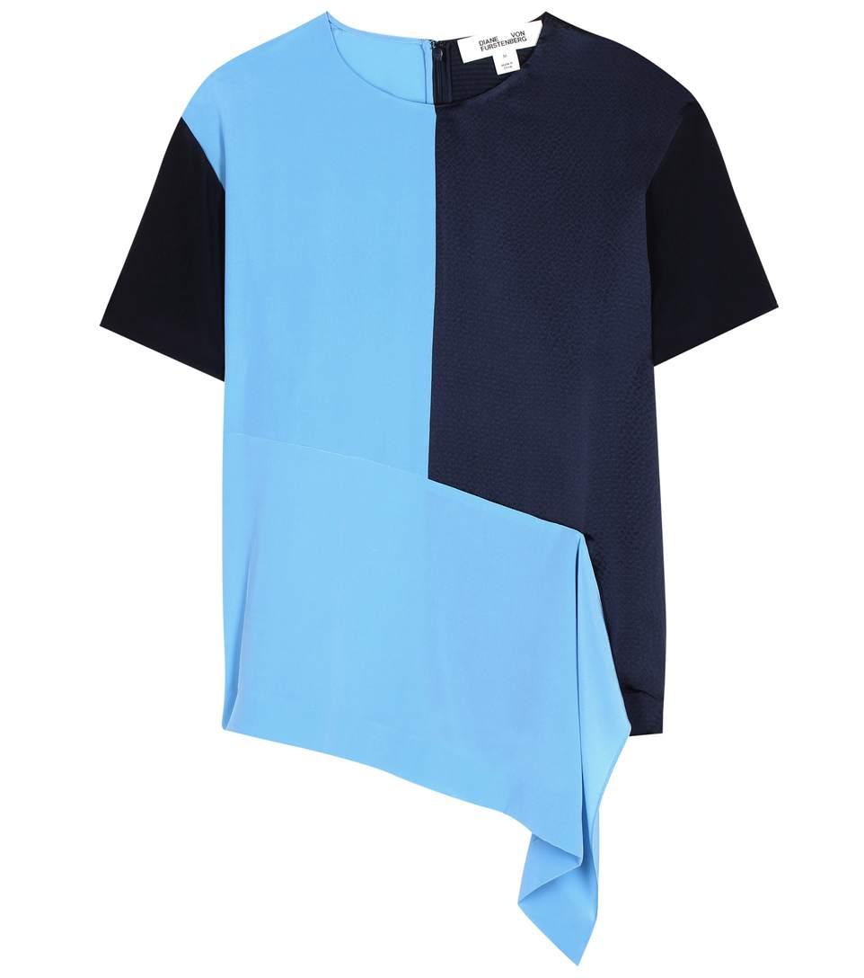 DIANE VON FURSTENBERG ASYMMETRIC T-SHIRT, BLUE