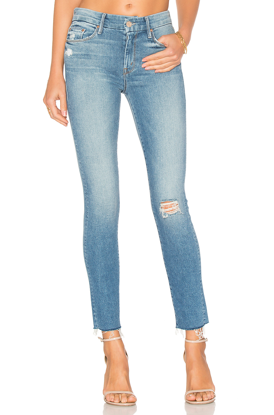 MOTHER Looker Ankle Fray Skinny Jeans In Love Gun in Blue