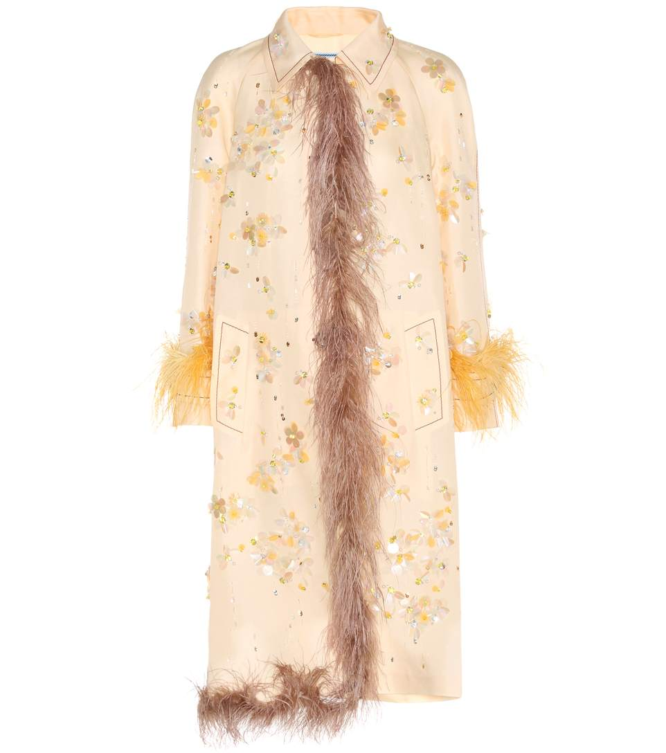 PRADA EMBELLISHED SILK COAT WITH FEATHER TRIM, NEUTRALS