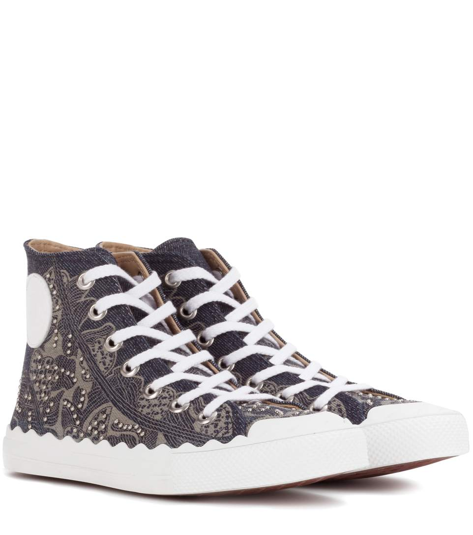 CHLOÉ EMBELLISHED HIGH-TOP SNEAKERS, LLACK